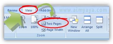 Gambar:Cara Membuat  tampilan zoom dua halaman di microsoft word
