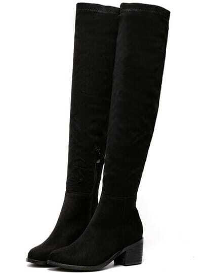Black Chunky Heel Suede High Boots pictures