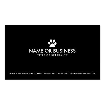 simple pet paw business card template
