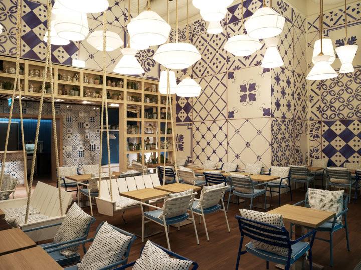 Azzurro restaurant by Andrin Schweizer Company, Zurich » Retail Design Blog - Fernweh Bar Zurich Airport