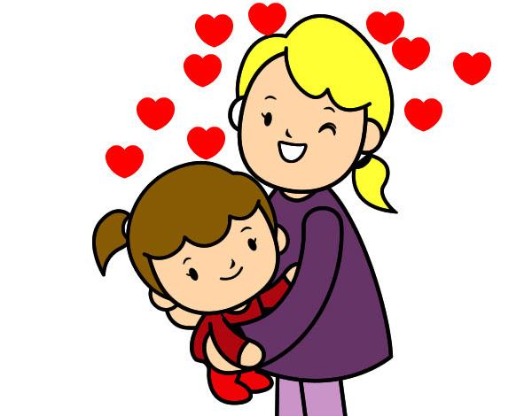 Dibujo De Abrazo Con Mamá Pintado Por Laum En Dibujosnet El Día 23