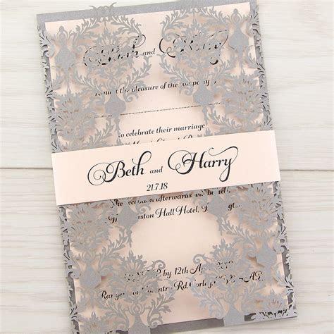 Rosa with Belly Band Wedding Invitation   Pure Invitation