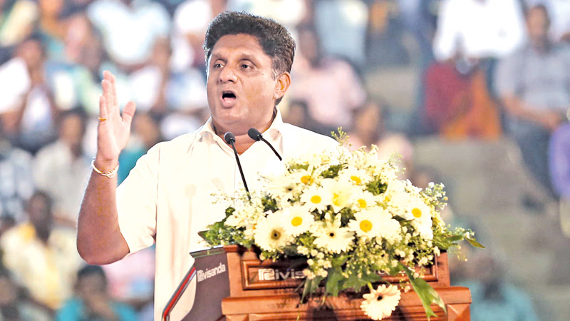 UNP Deputy Leader Sajith Premadasa addressing the gathering. Picture by Rukmal Gamage