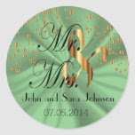 Mint Green Wedding for the Mr & Mrs | Personalize Classic Round Sticker