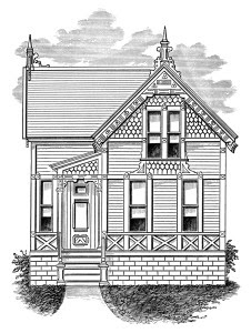 victorian cottage image, black and white clip art, vintage home clipart, antique house illustration, small house graphic
