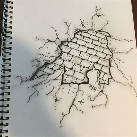 broken brick wall drawing art   brick wall