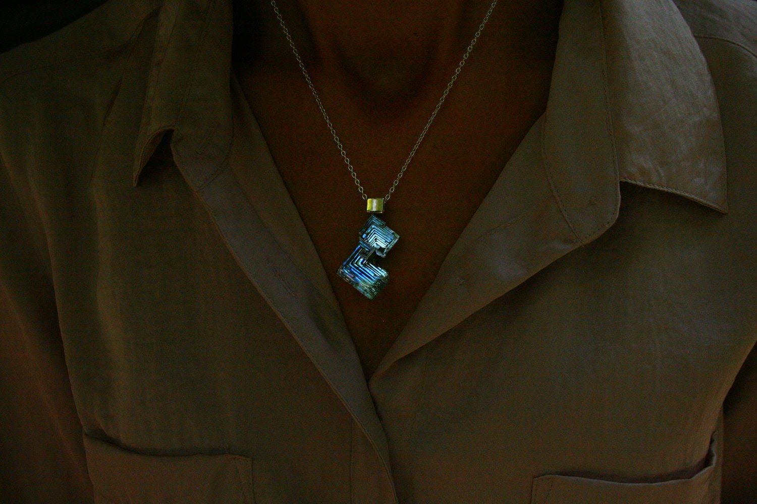 Contrapposto in Blues FREE SHIPPING and BOX,   Iridescent Bismuth Crystal Pendant, Jewelry