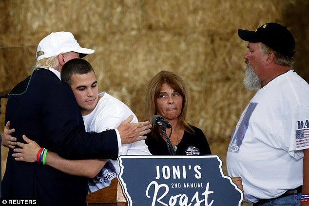 Trump was also was photographed hugging the brother of 21-year-old Sarah Root, who was killed in a car crash with an illegal immigrant who was drunk-driving in Omaha, Nebraska