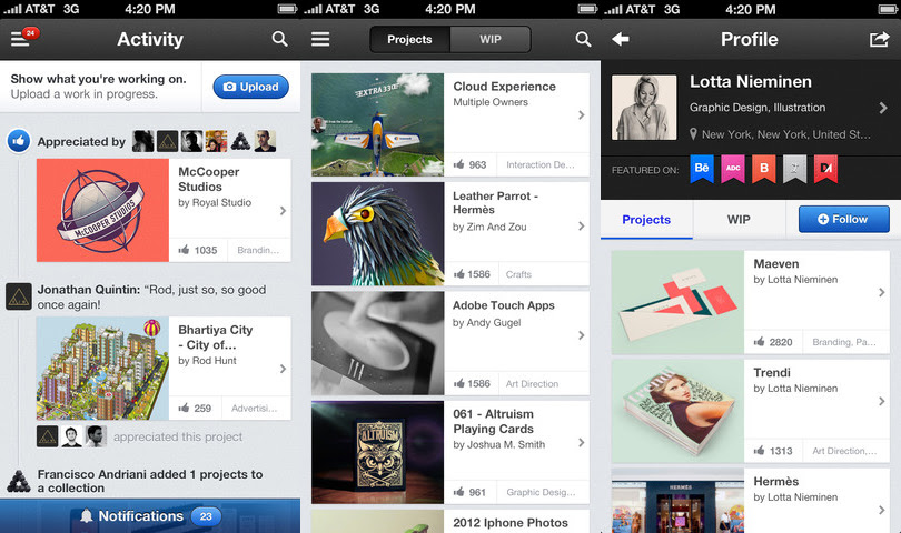 behance1 8 aplicaciones de iPhone que todo diseñador debe poseer