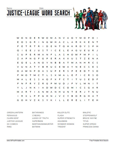 free printable justice league word search