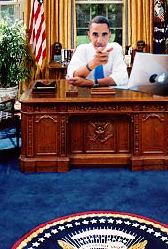 President Elect Obama in the Oval Office with a MacBook