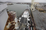 In this photo taken Tuesday, March, 27, 2012, rust and scaffolding is shown near the bridge of the battleship USS Iowa in Richmond, Calif. The 887-foot long ship that once carried President Franklin Roosevelt to a World War II summit to meet with Churchill and Stalin is coming to life once again for what is most likely her final voyage this month to become a floating museum in Los Angeles. (AP Photo/Eric Risberg)