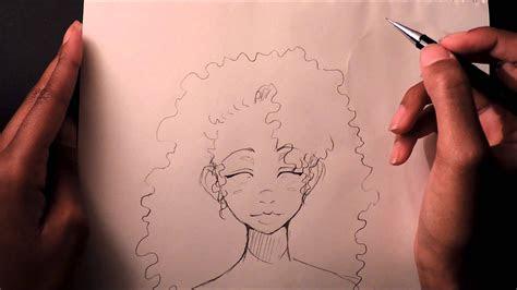 draw curlyafro hair youtube