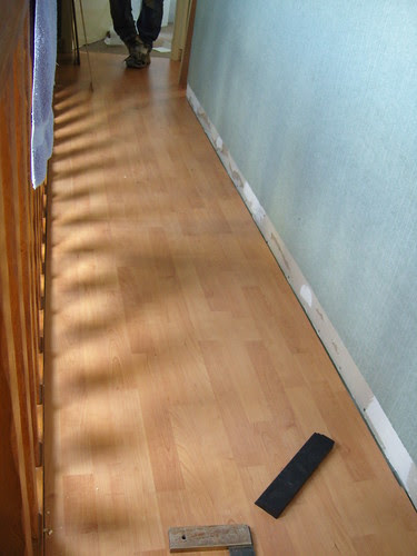 New flooring being installed in our French holiday cottage