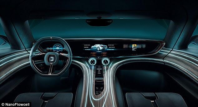 El coche lleva el agua en dos tanques de 200 litros, que proporcionan un alcance de hasta 373 millas (600 kilometros).  En el interior es un tablero interactivo de larga duración, con características madera-temáticos y un sistema de entretenimiento basado en Android