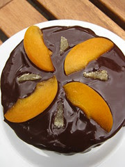 almond brown butter cake with apricot ginger filling