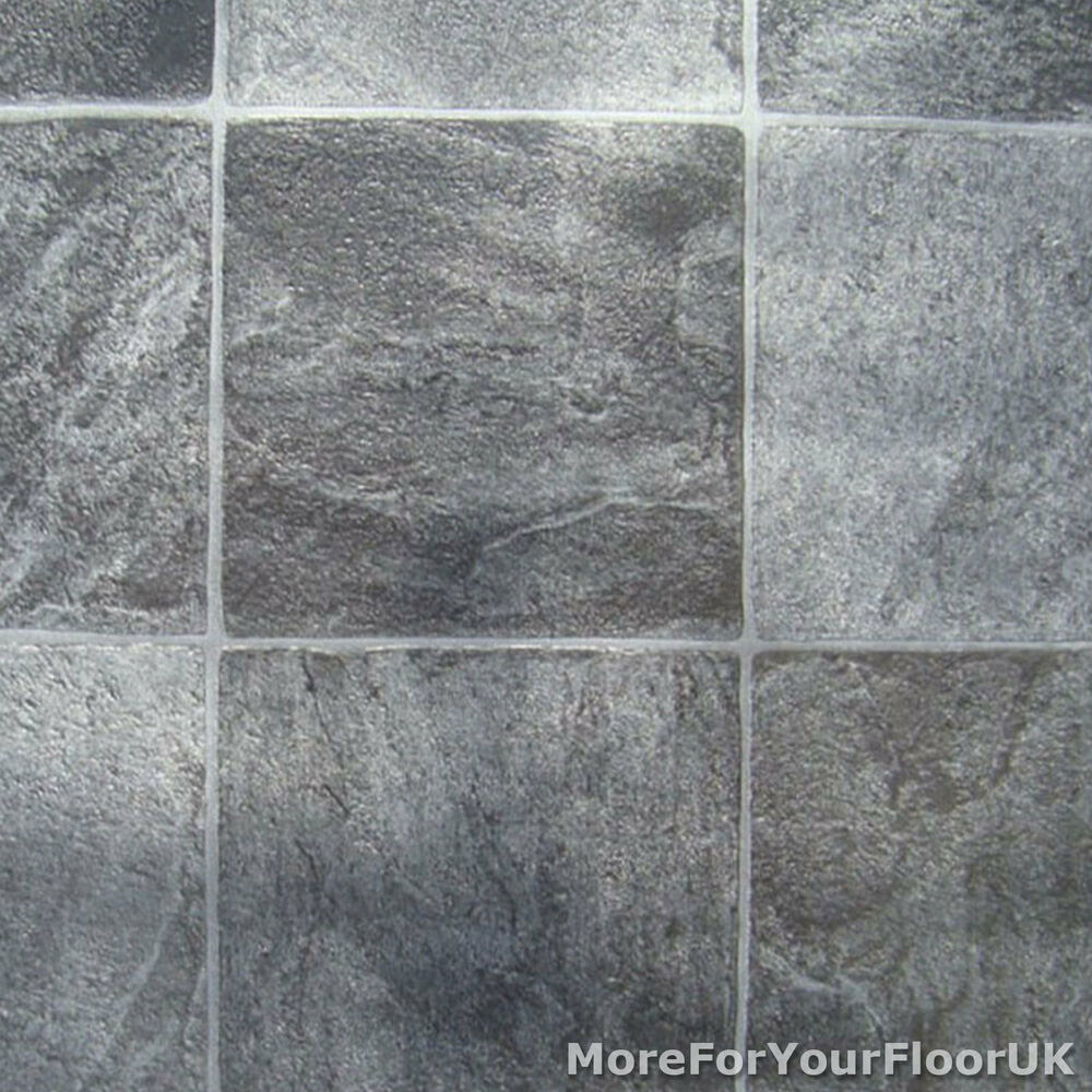 Grey Stone Tile Vinyl Flooring - Kitchen Bathroom Lino | eBay