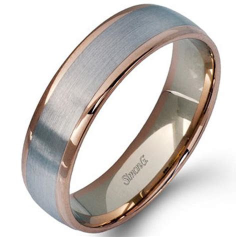 Simon G. White & Rose Gold Two Tone 6 MM Men's Wedding Band