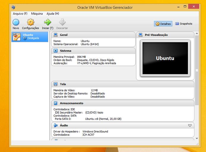 VirtualBox no Windows 8 (Foto: Reprodução/Edivaldo Brito)