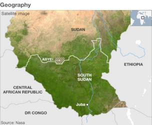 Map showing the geography of South Sudan