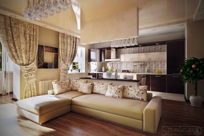 Neutral living room diner kitchen