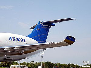 Damaged Embraer Legacy 600 aircraft, which ear...