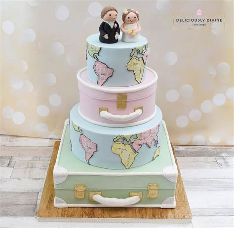 A travel cake or honeymoon cake with wedding peg couple on