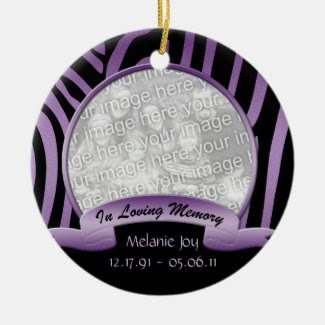 Purple and Black Zebra In Loving Memory Ornament