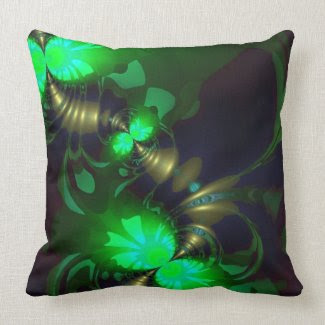 Irish Goblin – Emerald and Gold Ribbons Throw Pillows