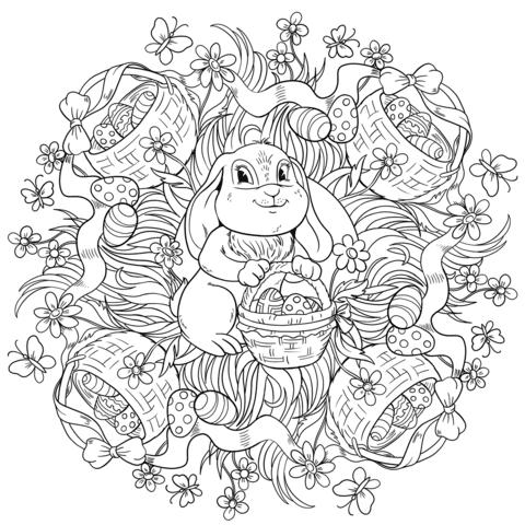 Disegno Di Mandala Di Pasqua Con Coniglio E Cesti Di Uova Da