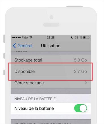 Mémoire disponible iOS