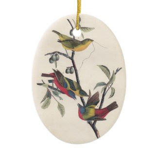 Antique Audubon Painted Bunting Christmas Ornament