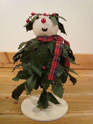 Holly Boy - Vintage 9 Inch Snowman Figure Styrofoam Wearing Holly Leaves Christmas