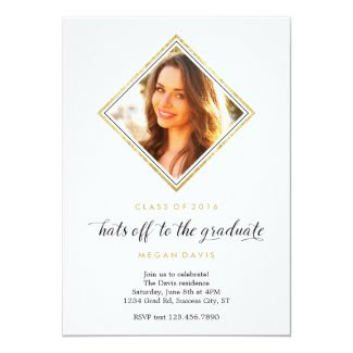 Elegant Diamond Shape Photo Graduation Card