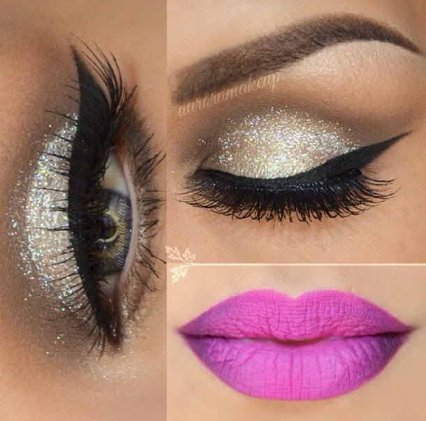 make-up,winged eyeliner,beautiful,i love it ?,lavender,purple,eyebrows,concealer,eyeliner,glittery-eyeliner-stuff,glitter,lips,lipstick,cute,silver,silver glitter,eye makeup,ombre lips,crease,eye shadow,pink,purple pink,gold,gold silver,glamour,false eyelashes,long eyelashes,pretty eyes,winged liner,mascara,eyelashes,pop of color,earphones