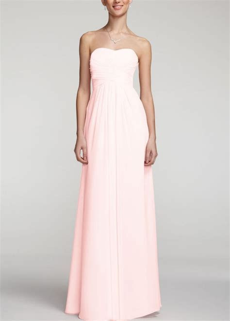 David?s Bridal Long Strapless Chiffon Dress with Pleated