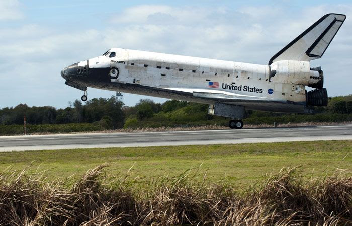 Space shuttle Discovery lands at Kennedy Space Center in Florida for the final time on March 9, 2011.