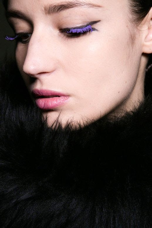 Le Fashion Blog Fall Style Halloween Makeup Eyebrows Purple Mascara Winged Eyeliner Pink Lipstick Via Harpers Bazaar