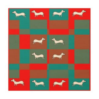 Dachshund Quilt Style on Wood Wall Art