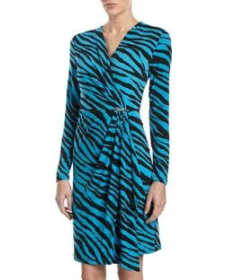 MICHAEL Michael Kors Zebra-Stripe Wrap Dress