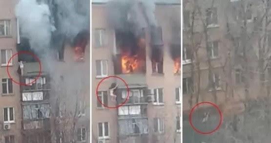 Para não ser queimada, a moradora se jogou