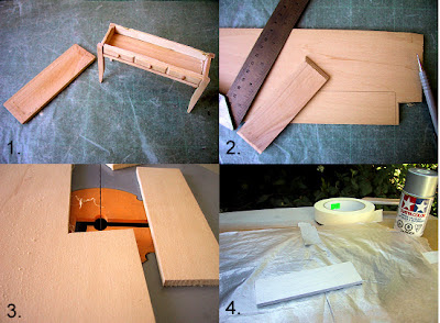 Four photos of a modern dolls' house miniature side table: with its top removed, measuring and cutting a new top piece,  and spray painting it.