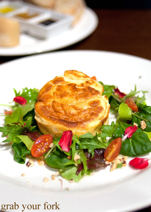 twice-cooked goats cheese souffle at redsalt canberra