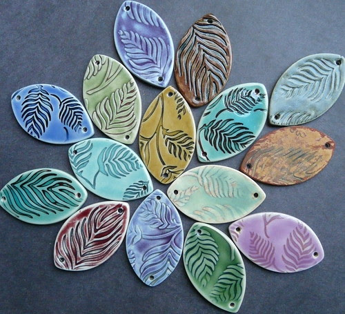 Feather fern porcelain jewerly components