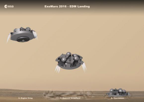 Aterrizaje en Marte de Schiaparelli (ESA).