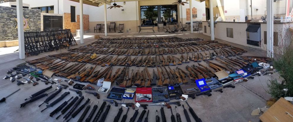 Some of the guns seized from the home of 60-year-oldManuel Fernandez (Image via Los Angeles County Sheriff's Department)