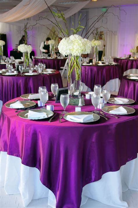White tablecloth with purple overlay, one of my options