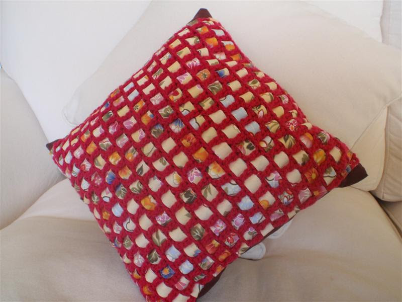 Eu amo crochê projeto capa de almofada