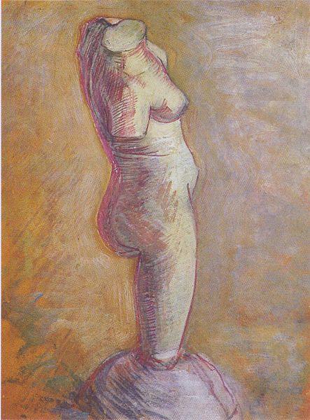 vincent van gogh, gipsbeeldje olieverfschets vrouwelijk torso