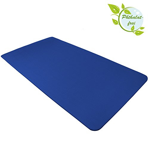 Yoga Mat HAPPY 185 cm x 80 cm x 1.5 cm Yogamat for Pilates Gymnastics Exercise Workout extra thick non-slip, Colour:Balance Blue